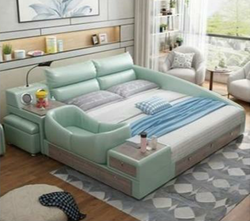Petalsfashionz  Mint Macaron Green Leather Bed Intelligent Modern Nano Bed  1.8m and 2m Soft Wedding Bed