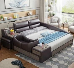 Petalsfashionz Mocha Brown Leather Bed Intelligent Modern Nano Bed  1.8m and 2m Soft Wedding Bed