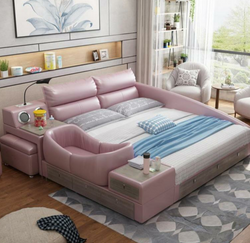 www.Petalsfashionz.com Quick shipping low prices Unique Custom Bedroom Furniture  Leather Bed Intelligent Modern Simple  Bed  1.8m Soft Wedding Bed