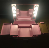 www.Petalsfashionz.com Quick shipping cheap prices women's Cosmetic Equipment And Accessories  Pink Normal Yellow-Lighted Rolling Makeup Case Studio Cosmetic Station Portable Bag for Cosmetics with bulbs without Legs