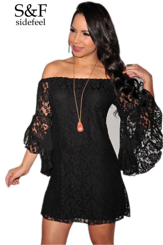 www.Petalsfashionz.com Quick shipping low prices women's plus size apparel Lace Off-the-shoulder Long Sleeve  Black
