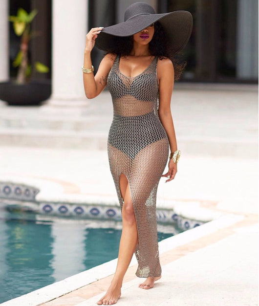www.Petalsfashionz.com Quick shipping low prices women's swimsuit & pool side attire.Gender Women Sexy Hollow Out Mesh Maxi Dress Summer Beach Party See Through Bodycon Women Vestidos High Split Long Dress