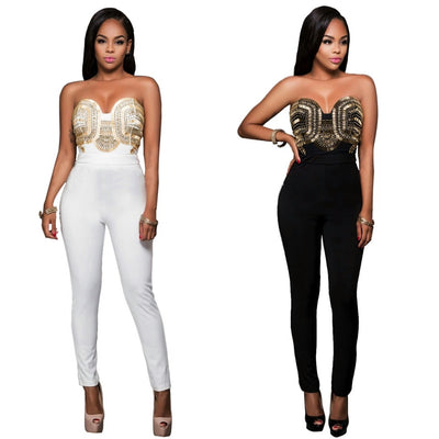 www.Petalsfashionz.com Quick shipping low prices women's rompers & jumpsuits. Item Type Jumpsuits & Rompers Bodycon Sequin Bodysuit Strapless Off Shoulder Jumpsuits Romper Women overalls