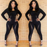 www.Petalsfashionz.com Quick shipping low prices women's rompers & jumpsuits  Sexy Night Club Jumpsuits Rompers Long Sleeve Black Lace Criss Up Bandage Bodysuit Overalls
