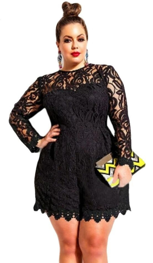 www.Petalsfashionz.com Quick shipping low prices women's rompers & jumpsuits. sexy Lace jumpsuit women Plus Size Long Sleeve Lace Romper  sexy jumpsuit macacao feminino coveralls