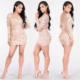 www.Petalsfashionz.com Quick shipping low prices women's Club Dresses Rose Gold Geometric Pattern Sequin O-neck Backless Bodycon Dress Sexy Party Night Club Dress Femme Vestidos Club Wear