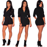 www.Petalsfashionz.com Quick shipping low prices women's rompers & jumpsuits Short Bodycon Denim Jumpsuits Summer Style V Neck Long Sleeve Sexy Club Wear Jumpsuit