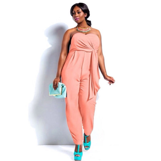 www.Petalsfashionz.com Quick shipping low prices women's plus size Rompers & Jumpsuits apparel Jumpsuit Sexy Fashion 2 Colors Plus Size Strapless Jumpsuits Pink