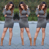 www.Petalsfashionz.com Quick shipping low prices women's Club Dresses synthetic leather suede dress sexy club spring women bandage dress long sleeve party bodycon dress Gray