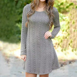 www.Petalsfashionz.com Quick shipping low prices women's evening Winter Women Sweater Dress Women Clothes Ladies Long Sleeve Knitted Bodycon dresses Gray