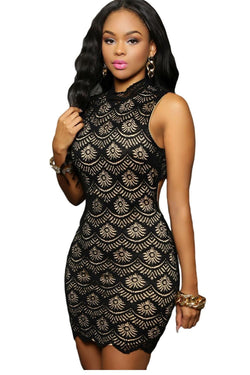 www.Petalsfashionz.com Quick shipping low prices women's Club Dresses  Summer Sexy Black Lace Nude Illusion Keyhole Back Mini Dress Sexy Club Wear