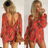 www.Petalsfashionz.com Quick shipping low prices women's rompers & jumpsuits Boho Sexy Lace Up Deep V Neck Red Floral Print Women Playsuits Elegant Summer Backless Rompers Short Overalls Jumpsuit