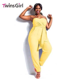 www.Petalsfashionz.com Quick shipping low prices women's plus size Rompers & Jumpsuits apparel Jumpsuit Sexy Fashion 2 Colors Plus Size Strapless Jumpsuits Yellow
