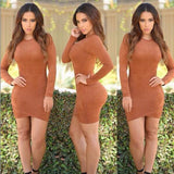 www.Petalsfashionz.com Quick shipping low prices women's Club Dresses synthetic leather suede dress sexy club spring women bandage dress long sleeve party bodycon dress Camel