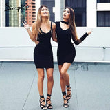sexy halter knitted dress Casual black vestidos short sweater dresses