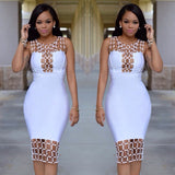 www.Petalsfashionz.com Quick shipping low prices women's Evening dresses and wrap dresses Bandage Dress Rayon Summer Hollow Out U Neck Sequined Bodycon Dress Black White Dinner Sexy Party Dresses