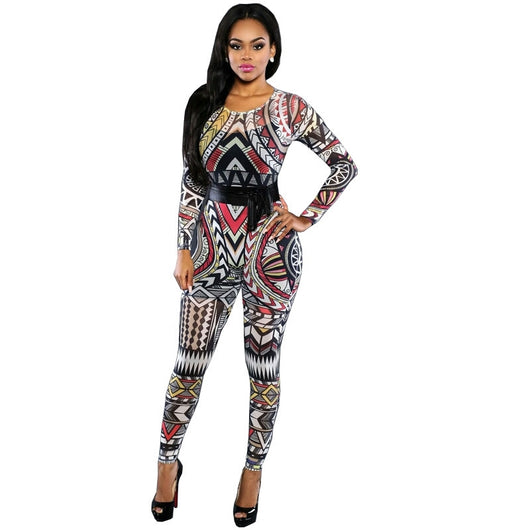 New Women Jumpsuit Long Pants  Winter Overalls Digital Color Printing Sexy Club Elegant Bandage Bodycon Rompers Womens Jumpsuit