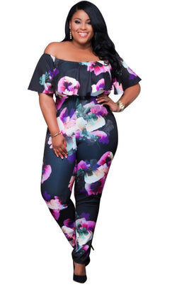 www.Petalsfashionz.com Quick shipping low prices women's rompers & jumpsuits rompers sexy 3D Flores print off shoulder ruffles bodycon jumpsuit plus size women bodysuits