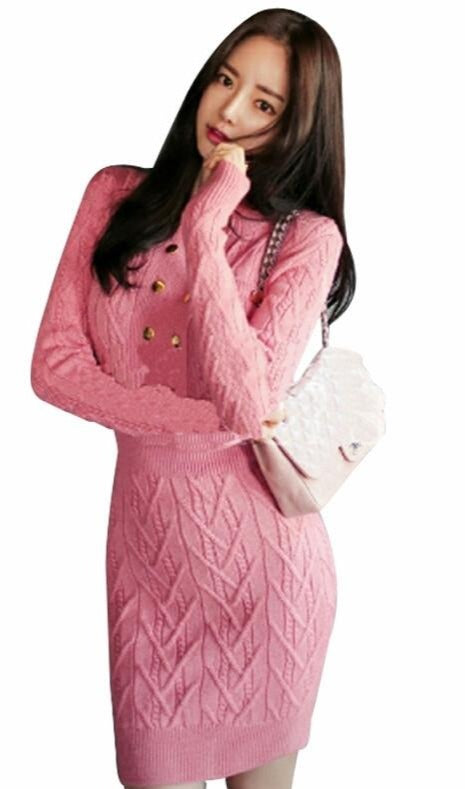 Petalsfashionz Autumn Sale Elegant Pink Sexy Womens Party Dress Knitted Slim Vintage Stretch Knit Bodycon Sheath Casual Pencil Dresses