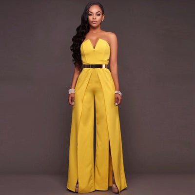 www.Petalsfashionz.com Quick shipping low prices women's rompers & jumpsuits full-length jumpsuit sexy off the shoulder bodycon romper high split jumpsuit Yellow