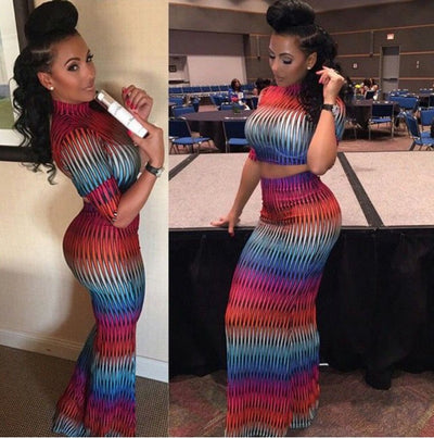 www.Petalsfashionz.com Quick shipping low prices women's Maxi Dresses & Sundresses Sexy Party Bandage Bodycon Dress New Fashion Night Club Vestidos Cocktail Elegant 2 PIECE Colorful Print Dresses