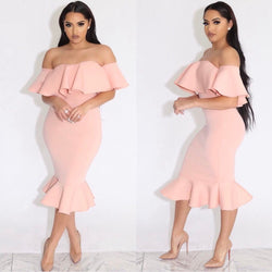 www.Petalsfashionz.com Quick shipping low prices women's evening dresses bandage dress pink off the shoulder midi dress sexy strapless ruffles dresses party club bodycon dress