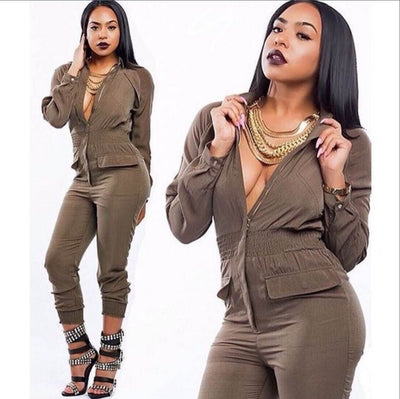 www.Petalsfashionz.com Quick shipping cheap prices women's rompers & jumpsuits  Sexy Long Sleeve Zipper Jumpsuits Rompers Brown