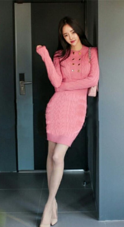 Autumn Sale Elegant Pink Sexy Womens Party Dress Knitted Slim Vintage Stretch Knit Bodycon Sheath Casual Pencil Dresses
