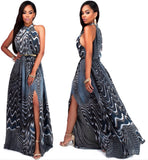 🌸2017🌸 Fashion Sleeveless Elastic Print Maxi Dress Women Floor Length O-Neck Slit Long Party Dresses Plus Size Vestidos