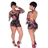 www.Petalsfashionz.com Quick shipping low prices women's rompers & jumpsuits black 3D Flores print bodysuit sexy backless catsuit long sleeve coveralls.