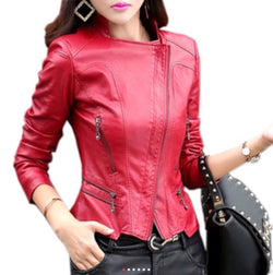 www.Petalsfashionz.com Quick shipping low prices women's Jacket's Women Motor Jackets Solid Slim PU Leather Motorcycle Jackets Coats Red