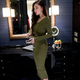 Sexy Women Dresses Long Sleeves Slim Knitting Style Vestidos