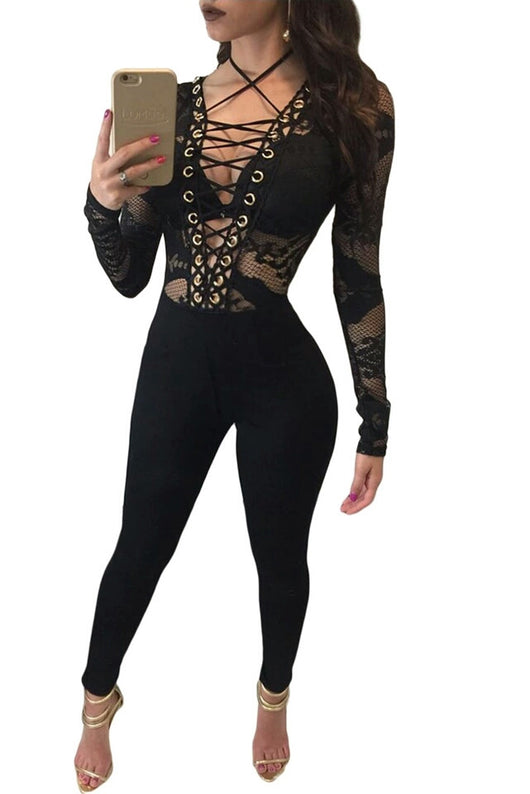 Sexy Rompers Womens Jumpsuit 2017 European Style Elegant Slim Long Sleeve Bodysuit Lace Up Deep V-Neck Black One Piece Playsuit