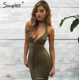 www.Petalsfashionz.com Quick shipping low prices women's Club Dresses Halter deep v neck evening club dress Women backless short sexy dress Summer style party bodycon dress vestidos Army Green