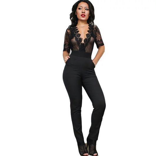 www.Petalsfashionz.com Quick shipping cheap prices women's rompers & jumpsuits Black Mesh Deep V-neck Overalls  Summer Rompers Womens Jumpsuits Sexy See Through Short Sleeve Lace Crochet Bodysuit Pockets