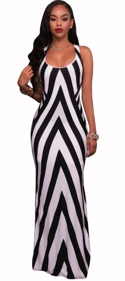 www.Petalsfashionz.com Quick shipping low prices women's Maxi Dresses & Sundresses Long Dress Women Casual Dresses Elegant Black and White Stripe Sexy Sleeveless Sling Bandage Dresses Maxi Dress