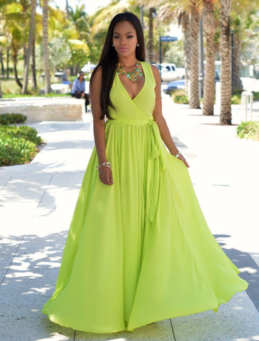 www.Petalsfashionz.com Quick shipping low prices women's Maxi Dresses & Sundresses  V Neck Sleeveless Maxi Dresses White Green Split Chiffon Long Dress Line Green