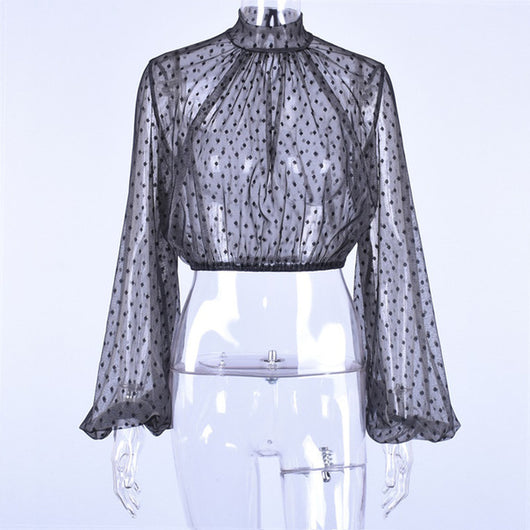 www.Petalsfashionz.com Quick shipping low prices women's Blouses & Unique Tops Polka dot print tops blouse women Mesh sheer lantern sleeve transparent tops Ladies see through summer top