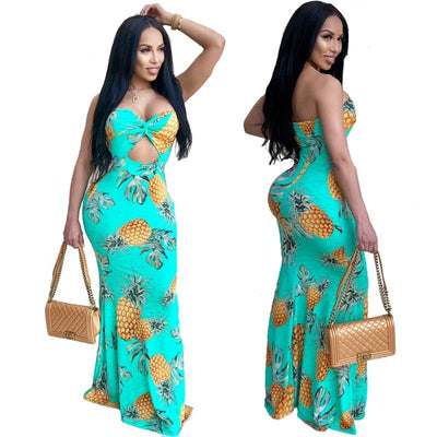 www.Petalsfashionz.com Quick shipping low prices women's Maxi Dresses & Sundresses Summer Printed Long Maxi Dress Strapless Slim Casual Sexy Dresses