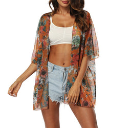 www.Petalsfashionz.com Quick shipping low prices women's Cardigans Casual Kimono Cardigan With Printing Chiffon Blouse Cover Up