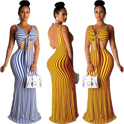 www.Petalsfashionz.com Quick shipping low prices women's Maxi Dresses & Sundresses summer stripes print tie up v-neck open back tank mermaid maxi dress sexy party long dresses