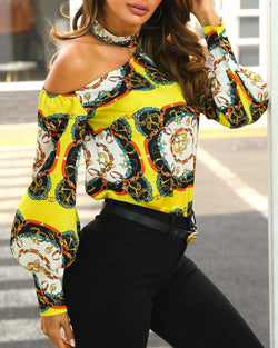 www.Petalsfashionz.com Quick shipping low prices women's Blouses & Unique Tops Blouse Long Sleeve Baroque Pattern Work Shirt Elegant OL Shirts Tops