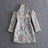 www.Petalsfashionz.com Quick shipping low prices women's Club Dresses Designer Dress Women's Shoulder Exposure Jacquard Tassel Beading Dress