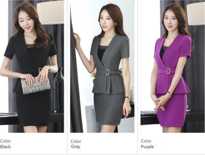 www.Petalsfashionz.com Quick shipping low prices women's Business attire professional women skirt suit summer elegant blazer and skirt office ladies plus size uniforms