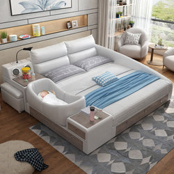 www.Petalsfashionz.com Quick shipping low prices Unique Custom Bedroom Furniture  Leather Bed Intelligent Modern Simple  Bed  1.8m Soft Wedding Bed White