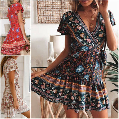 www.Petalsfashionz.com Quick shipping low prices women's Maxi Dresses & Sundresses Sexy Women Bohemia Flower Print Dress Party Short Sleeve  V-Neck Casual Summer Beach Bodycon New Hot Sale Mini Dress
