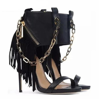 www.Petalsfashionz.com Quick shipping low prices women's Heel & Boots Shoes Apparel Gold Chain Tassel High Heel Sandals Ankle Zipper Gladiator Stiletto Black Leather Ladies Sexy Runway Dress Shoes