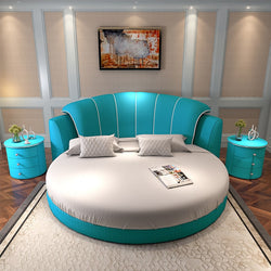 www.Petalsfashionz.com Quick shipping low prices Unique Custom Bedroom Furniture Lake blue color romantic round bed modern style bedroom