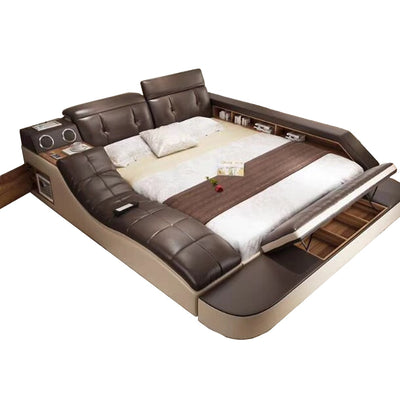 www.Petalsfashionz.com Quick shipping low prices Unique Custom Bedroom Furniture real genuine leather bed with massage /double beds frame king/queen size bedroom furniture camas modernas muebles de dormitorio