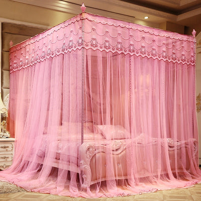 www.Petalsfashionz.com Quick shipping low prices Unique Custom Bedroom Furniture Palace Mosquito Net Luxury Princess Three-Door 4 Corners Post Bed Canopy Mosquito Net Queen King Bedding Article